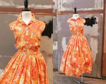 WATERCOLOR GARDEN PARTY 1950's 1960's 2-Pc Vlv Mad Men Unworn Deadstock Pinup Orange Cotton Blouse Top & Pleated Skirt Dress Md Lg
