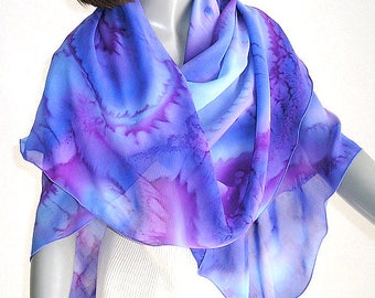 Hand Painted Scarf Coverup Orchid Purple Violet Amethyst Mauve, Large Square Silk Chiffon Wrap  Made by Artist, Handmade Unique by Jossiani,