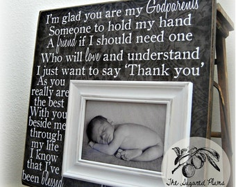 Gifts for Godparents, Personalized Custom Picture Frame 16x16 Baby Shower Dedication Baptism Christening First Birthday Gift Grandparents