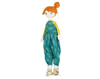 Handmade  soft doll, fabric doll,  softie, soft toy, plush toy, wooden pull toy, heirloom doll, Rag Doll,