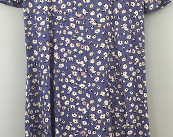 Vintage long blue button up floral dress 16/18 1990s Summer Fashion Extra