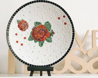 Bamboo mosaic plate with red roses Large fruit plate 11 inch stoneware plate Bamboo dessert dish Handmade dinner art plate Living room ideas