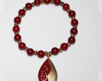 Red Asian Ruby and Gold Charm Bracelet