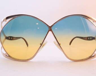 Christian Dior France Butterfly Oversized vintage sunglasses, 70s sunglasses. Bi-color lenses