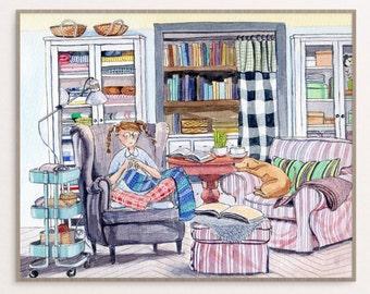 Interior with Girl Knitting - Watercolour - Art Print - Children's Illustration