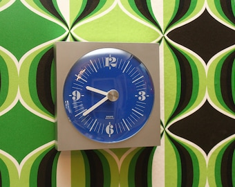 70s KRUPS Blue Wall Clock - Full working condition !