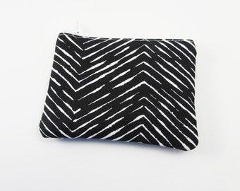 Coin Purse - Ready to Ship - Black Chevron Coin Purse - Change Purse - Small Credit Card Wallet - Zip Money Bag
