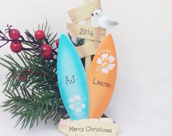 2 Surfboards Personalized Christmas Ornament / Surfing / Couple Ornament / Friend Ornament / Beach Ornament / Sibling Ornament
