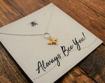 "Gold Bee Necklace ""Always Bee You!"" //Bee Jewellery //Honey Bee Necklace // Gold Plated Bee//Bee Jewellery"