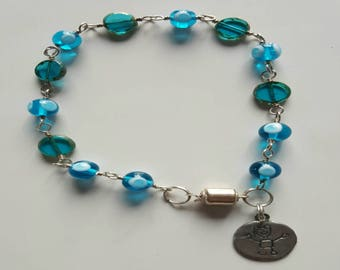 Blue Glass Beaded Ankle Bracelet with Sterling Silver