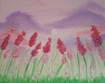 Red Blooms Oil Painting - 20x24