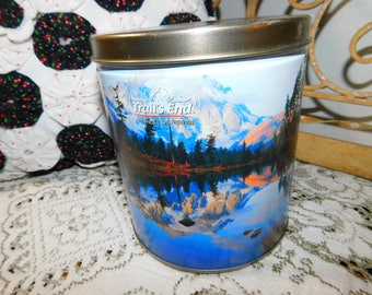 Trails End Popcorn Can, Vintage Pop Corn Can, Mountain Lake Scene Tin Can, Vintage Home Decor,:)s*
