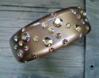 Moonglow Lucite Clamper with Rhinestones