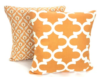 Orange Cream Pillow Covers, Decorative Throw Pillows, Cushions, Orange Cream Clover Fynn, Couch Bed Sofa, Set of Two Various Sizes
