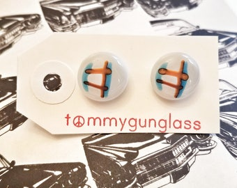 Blue and Orange Geometric Cufflinks