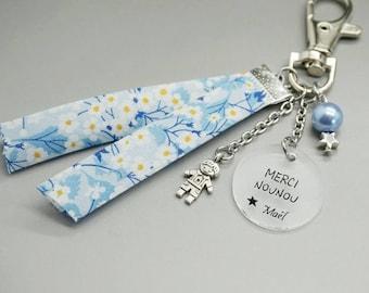 """porte clé liberty bleu cabochon médaille """"Merci Nounou"""" + prénom enfant - cadeau personnalisable - nanny teacher mimi babysitter"""