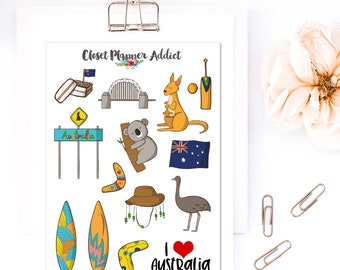 I Love Australia Travel Planner Stickers | Australia Stickers | Travel Stickers | Wanderlust Stickers | Koala Bear Stickers (S-320)