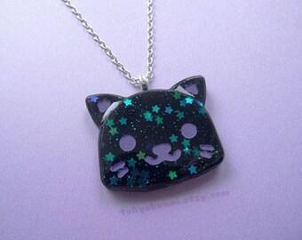 Black Starry Kitty Moon Necklace- Kawaii- Pastel  Goth -Lolita Fashion -Punk