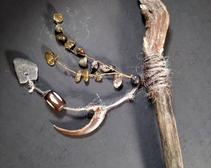 Muskrat Foot and Laboradite Crystal Wand. Voodoo/Hoodoo/Rootwork/Santeria Wand