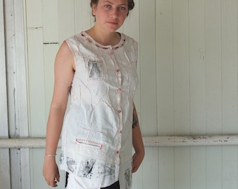 Far Out Fly - Hand Printed Cotton Shirt - Red Black and Cream a truly Resplendent Rag