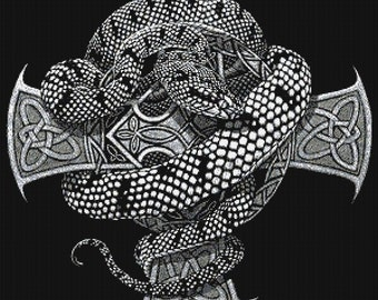 Snake Cross  - emailed PDF cross-stitch chart / pattern, original art © Stanley Morrison  licenced by Paine Free Crafts