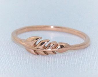 Fall Leaf Band Ring- 14k Rose Gold