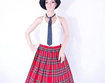 Vintage 1980s Ladies Scotish Tartan Plaid Full skirt SIZE 36 38 S M 8 10