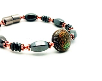 Sun Blossom Mirage Color Changing Bracelet Therapy Pure Copper Black Hematite Magnetic Super High Power Wellness FREE gift card