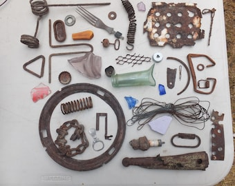 Rusty Pieces -Rings, Twisted Wire, Springs, Desert Glass, Rusty Chain, Bottle Caps -for crafts, altered art, assemblage, rusty supplies