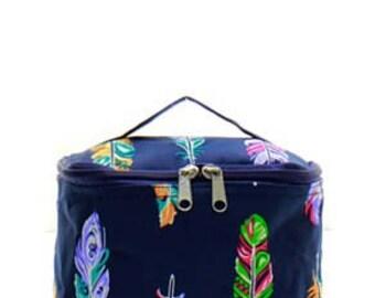 Multicolor Feather Small Cosmetic Case w/ Monogram Option