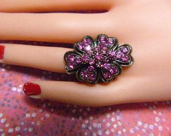 Vintage Pink Rhinestone Heart Ring - Size Adjustable - R-720 - Pink Rhinestone Ring - Large Rhinestone Ring