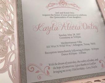 Pink Quinceanera invite. Tiara & Crown Invitation,  Spanish Invitation.  15th Birthday Invite. Sweet 16 Invitation.