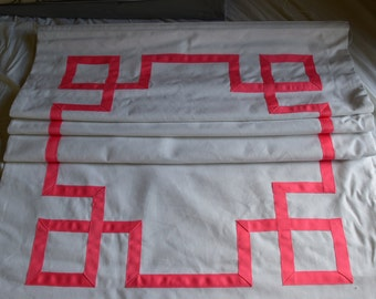 Clearance Greek Key Roman Shades in Pink and White FOUR available