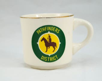 Vintage 1970s Boy Scout Mug, PATHFINDERS DISTRICT, Tea Mug, Coffee Mug, Vintage Coffee, Vintage Tea, Vintage Kitchenware, BSA