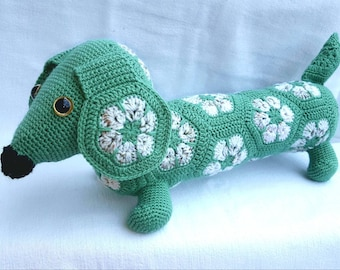 Tippy, the African Flower Dachshund in green