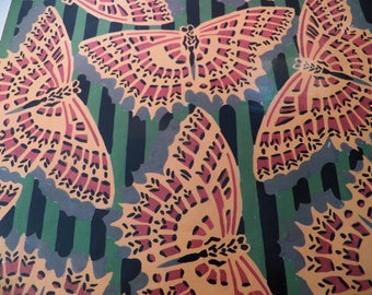 Vintage Butterfly Gift Wrap, Butterfly Wrapping Paper, One Sheet 24X17 inches, Yellow Butterflies on striped Green paper, Scrapbook Craft