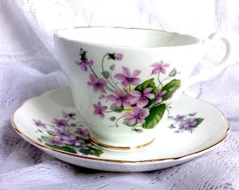 English Castle Tea Cup & Saucer, Vintage Staffordshire English Fine Bone China Teacup and Saucer