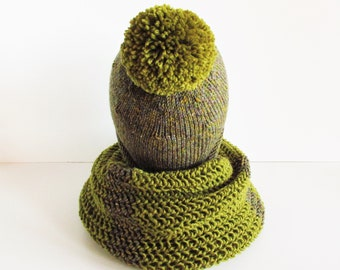 Hand knit set hat and scarf , hand knitted woman hat , knit scarf , green winter hat , slouch hat with pom pom. Handmade to order