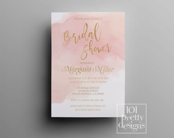 Rose gold foil invitation 18th 21st birthday printable elegant watercolor bridal shower invitation template printable bridal shower invitation pink and gold bridal shower design gold foil invitation solutioingenieria Images