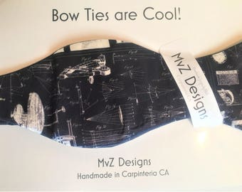 Blueprint bow tie etsy blue print drawings bow tie custom printed fabric calling all engineers physicists malvernweather Image collections