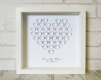 PERSONALISED - 3D Paper Cut Heart of Hearts - Box Frame Art Print