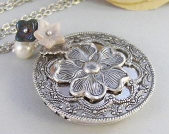 Midnight Bloom,Birthstone Necklace,Birthstone Jewelry,Locket,Silver Locket,Blossom,Flower,Blue,Ivory,Antique Locket,Night,Pearl,Jewelry