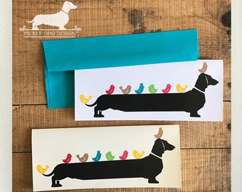 Long Doxie, Little Birdie. Note Card -- (Personalized, Friendship Card, Birds, Mother's Day Card, Dog, Dachshund, Vintage-Style, Weiner Dog)