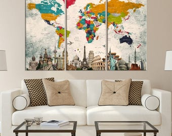 World map canvas etsy world map canvas gumiabroncs Choice Image