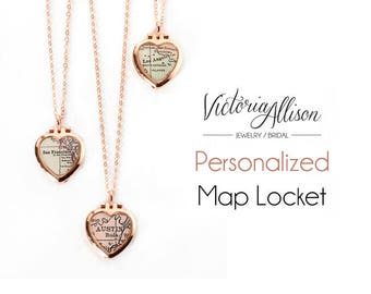 Rose Gold Map Locket, Tiny Heart Locket, Custom Map Necklace, Personalized Map Jewelry, Vintage Locket, Paper Anniversary Gift, Bridesmaid