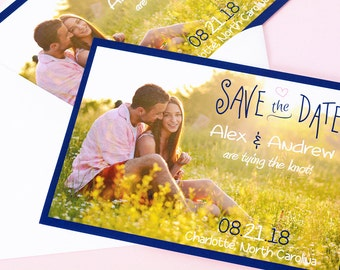 """Vintage Chic - Save The Date Cards - 5"""" x 7"""" Wedding Announcement Cards - Save The Dates - Personalized Save the Dates - Photo Cards"""