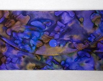 Purple and Brown Wallet, Vegan, Women's Wallet, Fabric Wallet, Tri-fold Wallet, Clutch