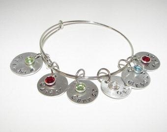 adjustable bangle ,charm bracelet, personalized jewelry, hand stamped jewelry, bangle bracelet, mommy bracelet, engraved, custom jewelry