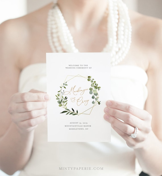 Self-Editing Wedding Program Template, INSTANT DOWNLOAD, Order of Service, 100% Editable Text, Greenery & Gold Folded Program  #056-124WP