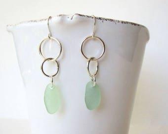 Sea Glass Sterling Silver Earrings, Sea Foam Sea Glass Dangle Earrings, Genuine Sea Glass Silver Earrings, Sea Glass Jewelry,Bridesmaid Gift